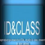 Індетифікатори елементів в HTML, атрибут  id і class, елементи  div, span, address